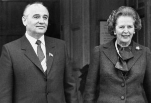 Gorbachev, soviet Politburo member poses with British PM Margaret Thatcher at Chequers during his December 1984 visit to the UK.