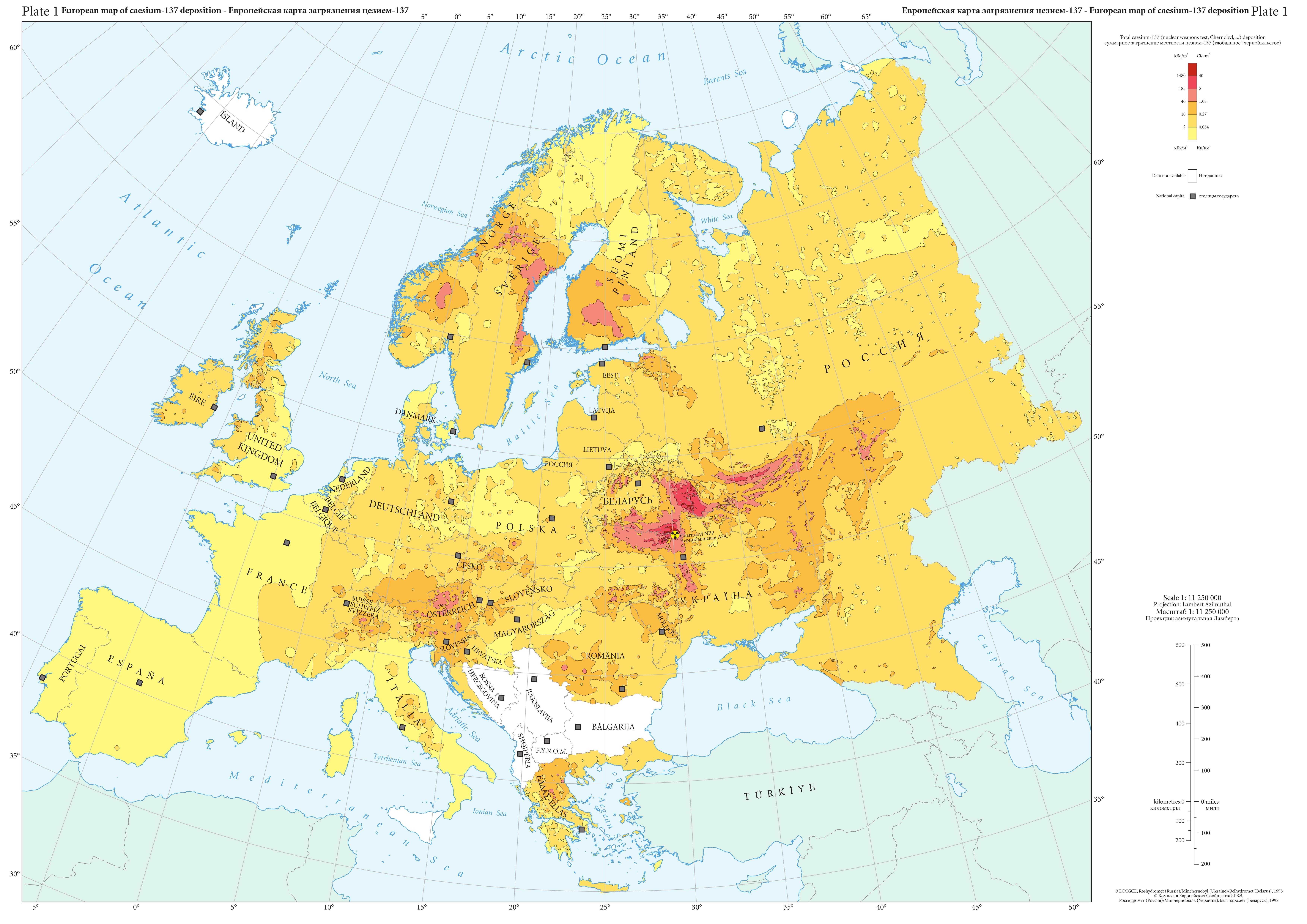 Mappa del Caesium 137, Europa, 1998.