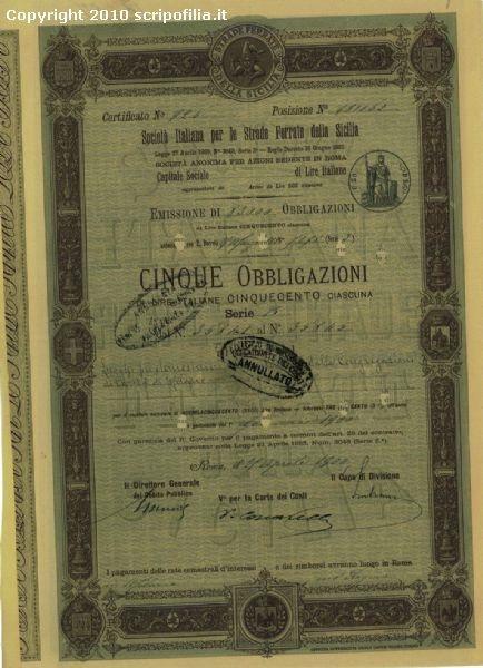 """1881, """"Società Italiana Per le Strade ferrate Meridionali""""."""