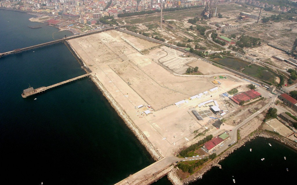 An aerial view of the Naples' Bagnoli ar