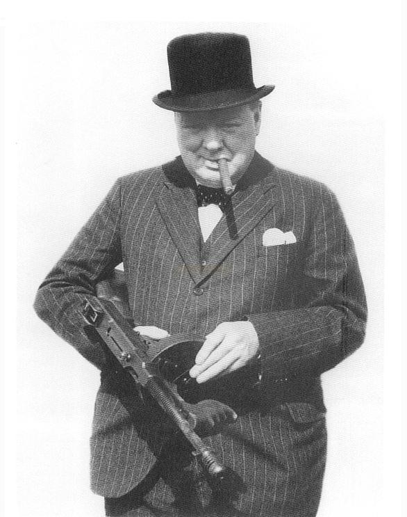 Churchill e il Thompson machine gun