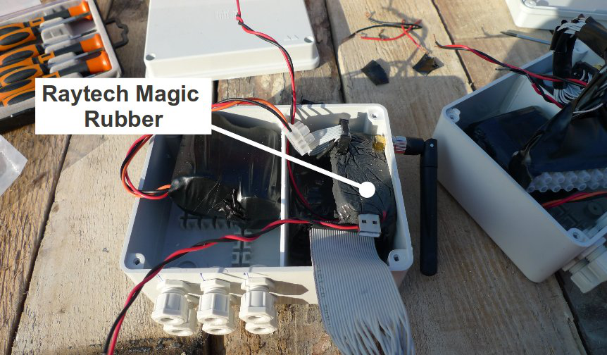 Pictures of the installation- relay nodes, Sensing node in concrete element, Sealing of housing