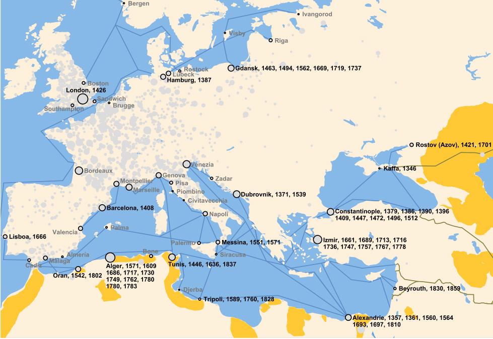 Focolai di peste nei porti marittimi europei scollegati dai vicini focolai terrestri.