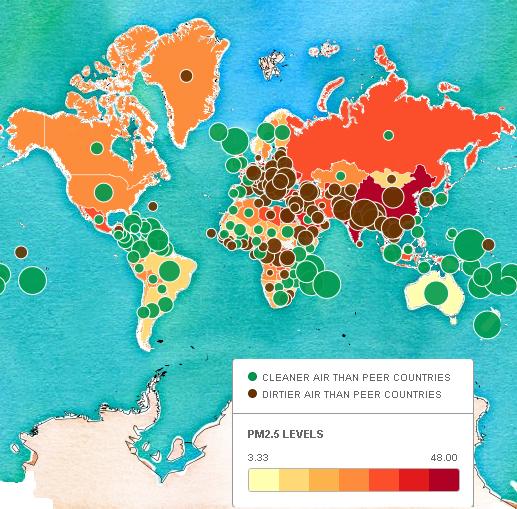 mappa livelli di pm2.5 mondo